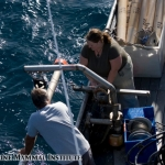 John Schaefers and Robyn Matteson deploy the CTD probe at the Costa Rica Dome